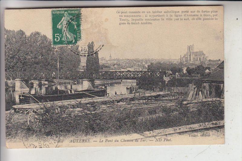 SCHIFFE - BINNENSCHIFFE - Yonne, 1912 Auxerre