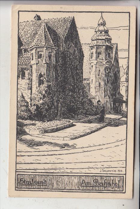 0-2300 STRALSUND, Am Bahnhof, Künstler-Karte J.Sellentin 1916