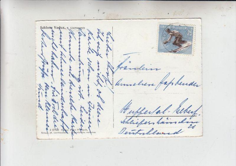 LIECHTENSTEIN, 1955, Sportserie II, Michel 336. Zumstein 280, Einzelfrankatur nach Wuppertal