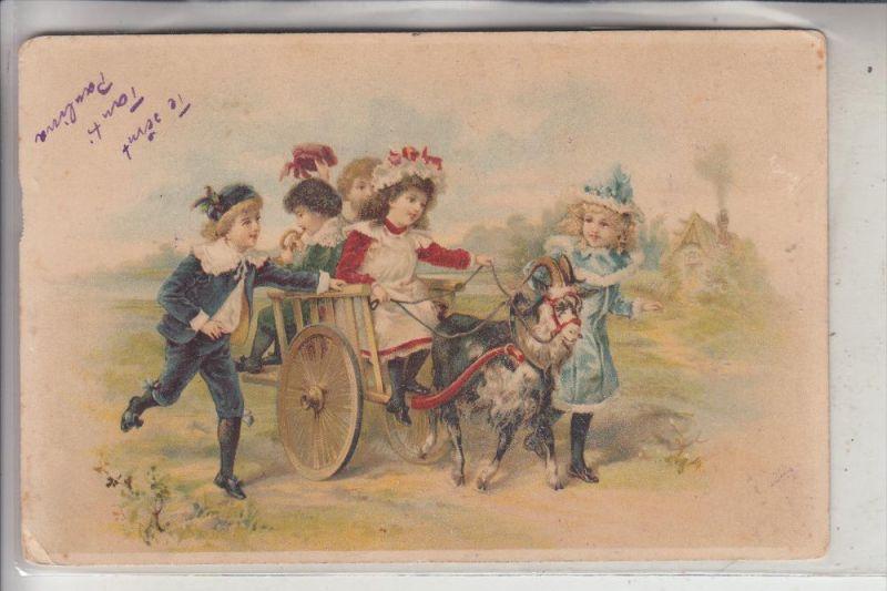 TIERE - ZIEGEN / Goats / Geiten / Chevre, Kinder mit Ziegenwagen, 1900,kl. Knick