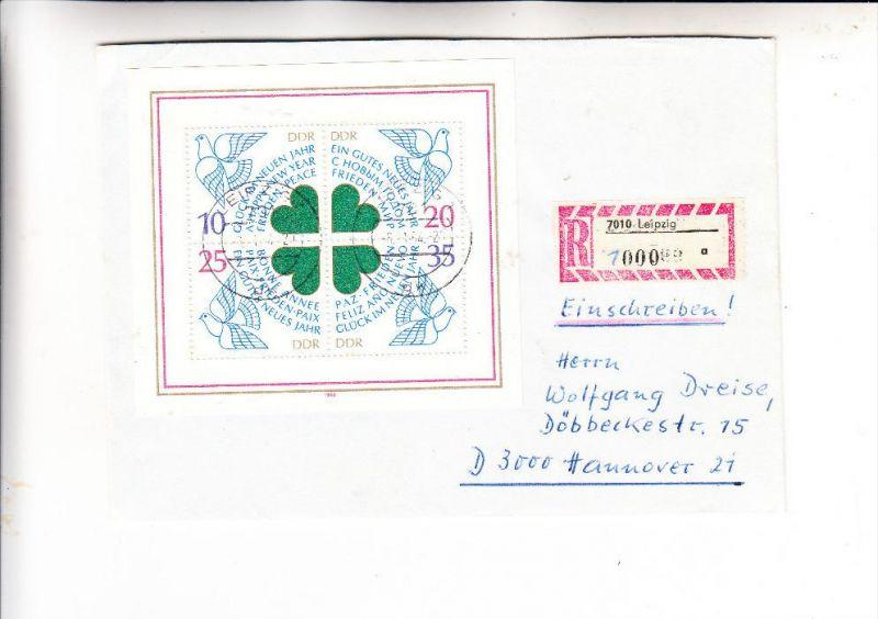 DDR, Michel 2844-47, Block 75, Einzelfrankatur Einschreiben, Zähl-Nummer 1000
