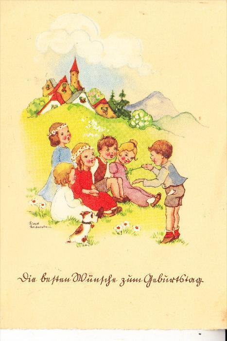 KINDER, Künstler-Karte Liesel Lauterborn, 1941, Geburtstagsgrüsse