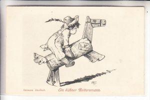KINDER - Künstler-Karte, Hermann Kaulbach, Schaukelpferd, rocking horse / cheval a bascule / Hobbelpaard