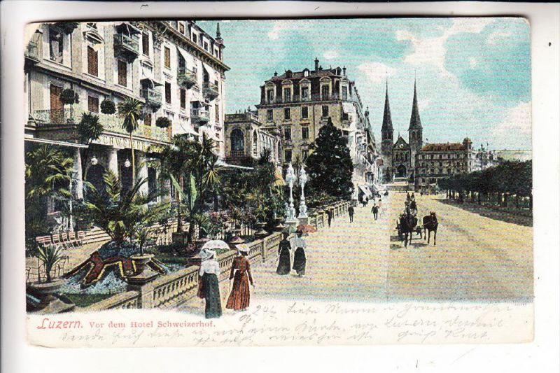 CH 6000 LUZERN, vor dem Hotel Schweizerhof, 1906, Ecke leicht berieben