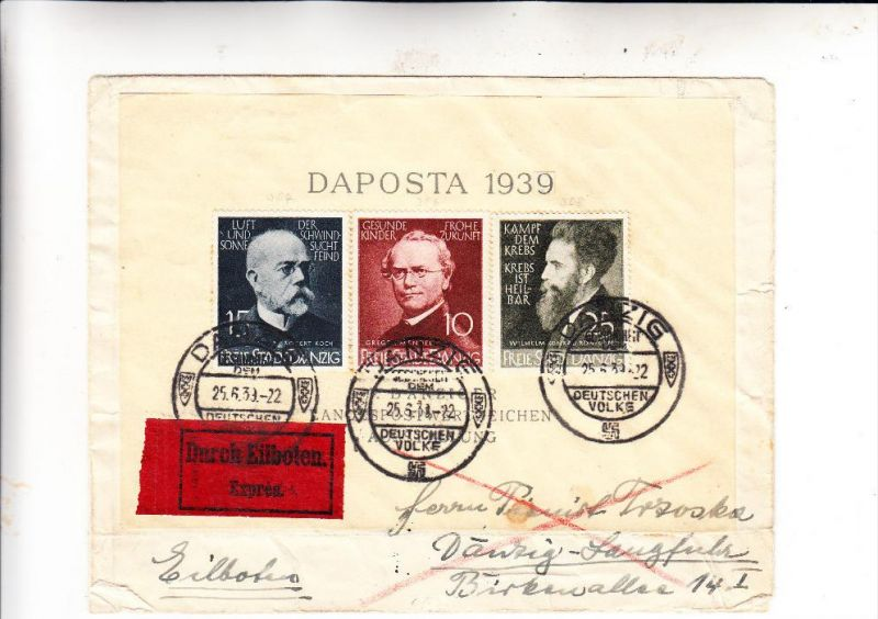 DANZIG - Michel 306 - 308, Ärzte & Naturforscher , 25.6.1939, Eilboten Express innerhalb Danzig