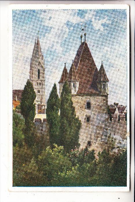 A 2700 WIENER NEUSTADT, Reckturm, Künstler-Karte, Vignette Kreisturnfest 18.-20. Juli 1920