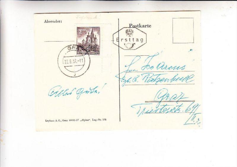 ÖSTERREICH, 1957, FDC Michel 1035, echt gelaufen, Graz-Stempel aptiert