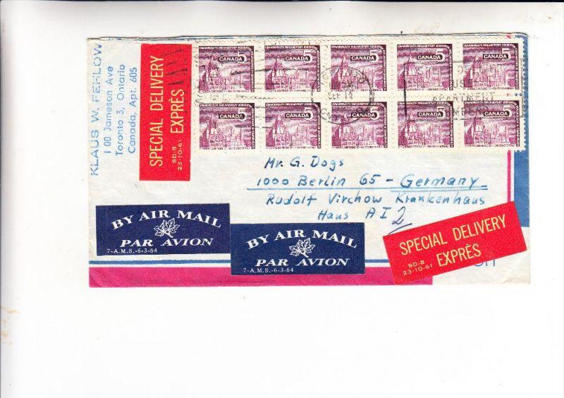 CANADA - 1966, Michel 394, Mehrfachfrankatur, Special Delivery Express nach Berlin