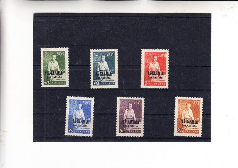 SUOMI FINLAND / FINNLAND - ITA-KARJALA / OSTKARELIEN, 1942, Michel 22 - 27 **, signiert FRISCHER