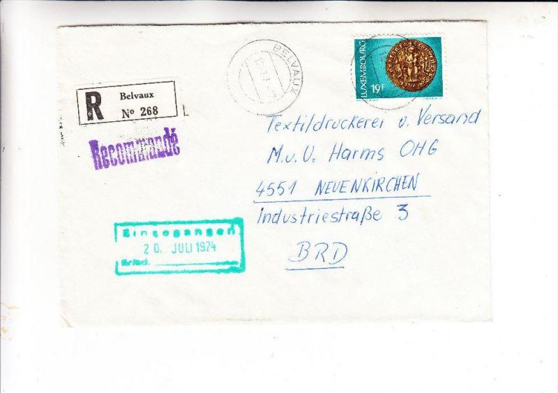 LUXEMBURG, 1974, Michel 881 Einzelfrankatur Eischreiben Belvaux nach Deutschland
