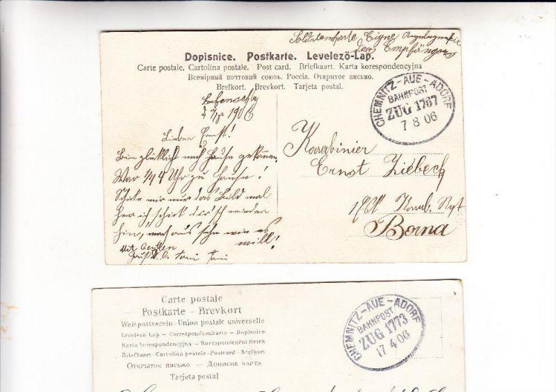 DEUTSCHES REICH - BAHNPOST / TPO / AMBULANT - CHEMNITZ-AUE-ADORF, 2 Belege1906