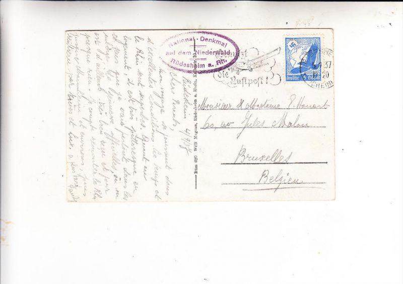 DEUTSCHES REICH, 1934, Michel 531, AK Einzelfrankatur nach Belgien, 5.9.37