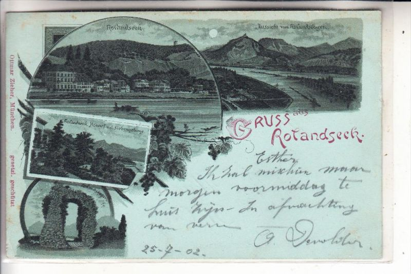 5480 REMAGEN - ROLANDSECK, Lithographie 1902