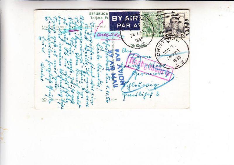 PANAMA - CANAL - ZONE, Michel 70 A & 76 A, Nachgebühr-AK nach Deutschland, nov 3 1956 Cristobal, kl. Knick