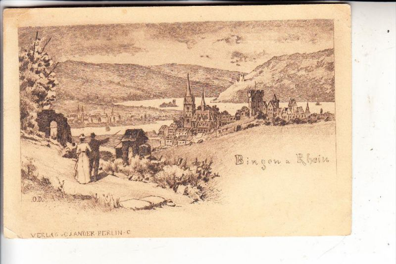 6530 BINGEN, Panorama, Künstler-Karte O.D, Verlag: Jander-Berlin, kl. Knick