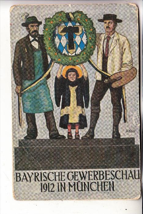 BAYERN, 1912, Privat-GA zur Bayrischen Gewerbeschau 1912 München, nicht mehr ganz frisch