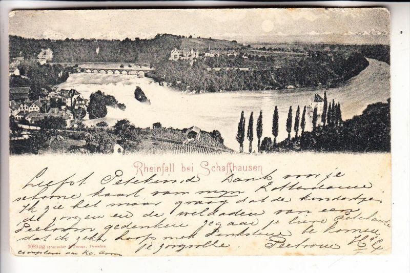 CH 8212 NEUHAUSEN, Rheinfall, 1899, niederl. Karte