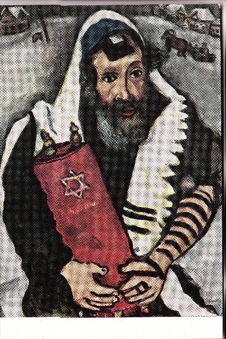 JUDAICA - Rabbi mit Thorarolle, Marc Chagall