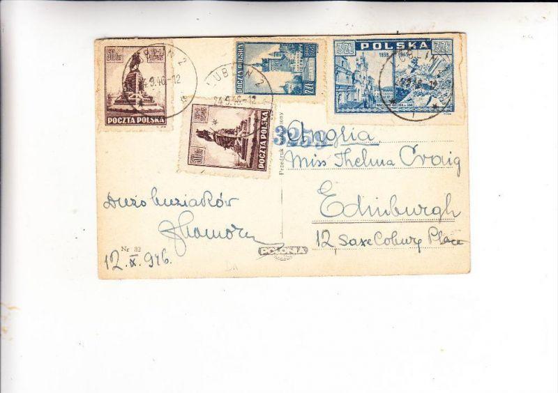 POLSKA / POLEN, 1945, Fischer 362 (2), 378 & 381,  Mischfachfrankatur nach Schottland