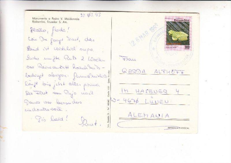 ECUADOR, 1992, Michel 2230, Einzelfrankatur nach Deutschland