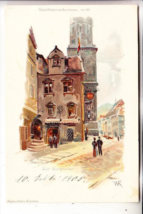 0-6900 JENA, Burgkeller, Künstler-Karte, ca. 1905