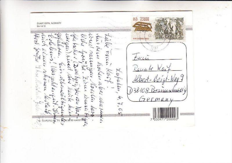 NORGE / NORWEGEN, 2004, Michel 1514, AK-Einzelfrankatur nach Deutschland