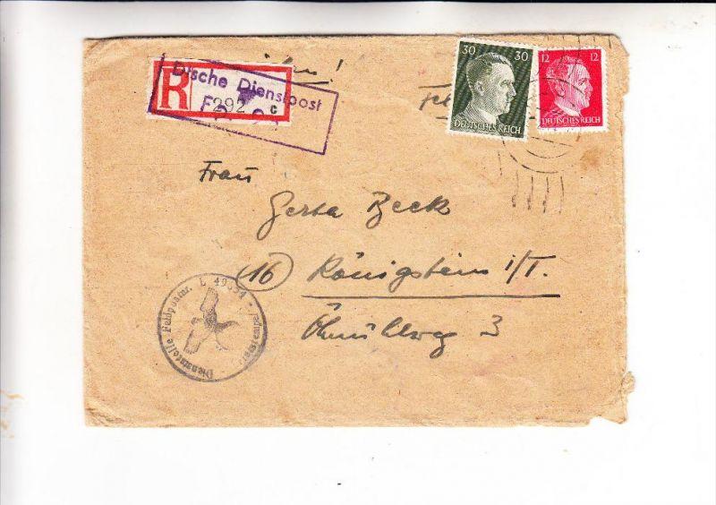 MILITÄR - 2.Weltkrieg, Feldpost Nummer 49654, Einschreib-Dienstpost frankiert, 1941, 15. Komp. Luftnachrichten Regt. 201