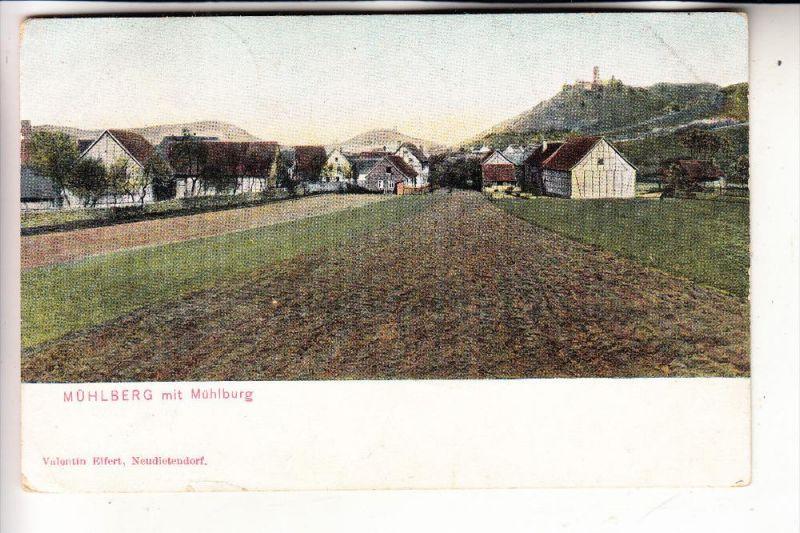 0-5801 MÜHLBERG bei Gotha, Dorfansicht mit Mühlburg, 1912