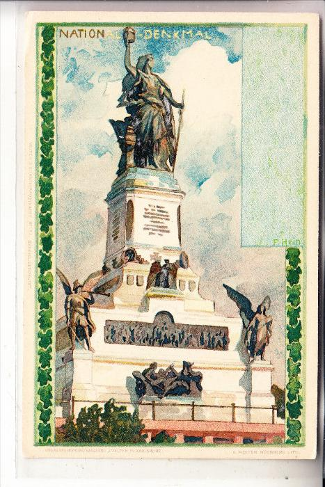 6220 RÜDESHEIM, Nationaldenkmal, Patriotica, Künstler-Karte F.Hein, ca. 1905