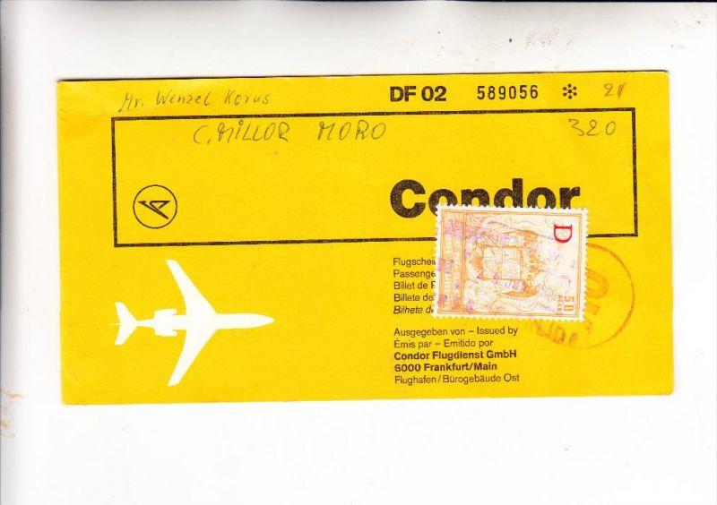 FLUGTICKET - CONDOR, Düsseldorf-Palma, 1969 & span. Gebührenmarke