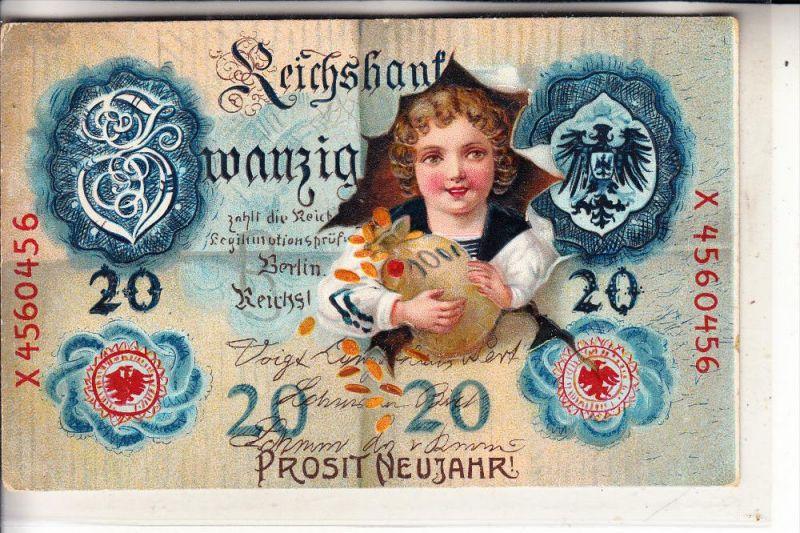 BANKNOTEN - 20 Reichsmark, 1912, geprägt, embossed, relief