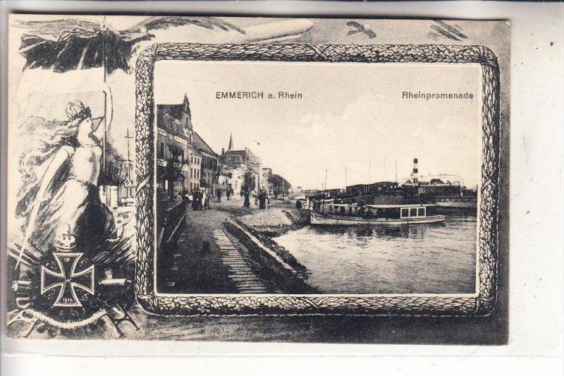 4240 EMMERICH, Rheinpromenade, Germania, Patriotica 1.Weltkrieg, 1915