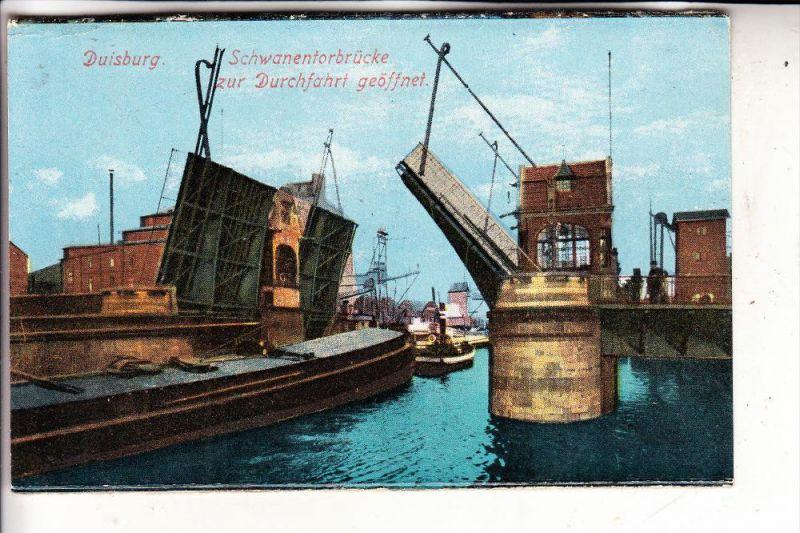 4100 DUISBURG - RUHRORT, Schwanentorbrücke, Binnenschiffe, 1924
