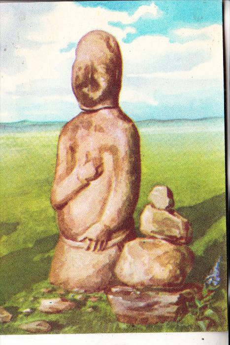 MONGOLIA / MONGOLEI - Künstler-Karte, OUBOUR - Colonne de Pierre