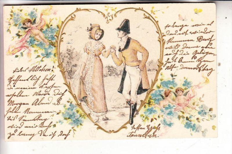 MODE - Kleidung, Liebe, Romantik, geprägr / embossed / relief, 1901