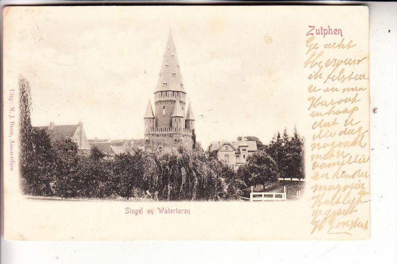 NL - GELDERLAND - ZUTPHEN, Singel en watertoren, 1901