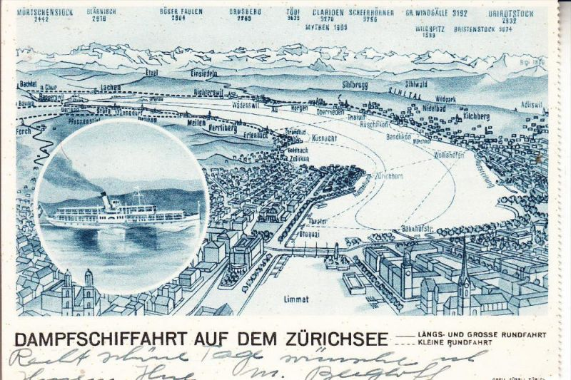 CH 8000 ZÜRICH, Dampfschiffahrt auf dem Zürichsee