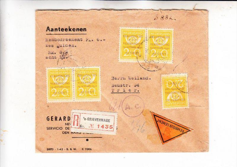 NIEDERLANDE - 1943, NVPH 404, PTT-zegel, R-Brief, 5-fach-Frankatur nach Trier