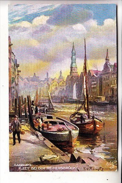 2000 HAMBURG, Fleet, Bei der Reimersbrücke, Künstler-Karte, Tuck Oilette