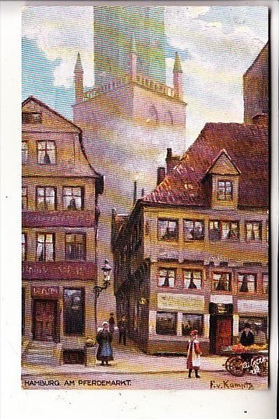 2000 HAMBURG, Am Pferdemarkt, Künstler-Karte, Tuck Oilette