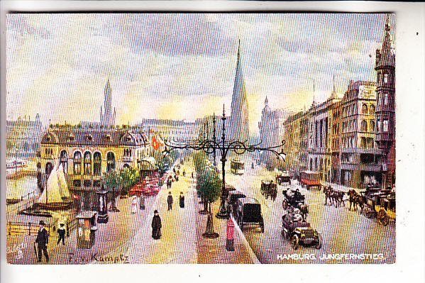 2000 HAMBURG, Jungfernstieg, Künstler-Karte, Tuck Oilette