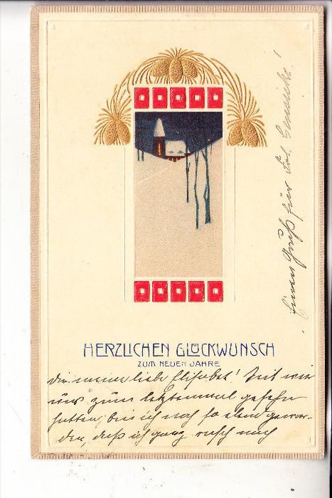 NEUJAHR - JUGENDSTIL / ART NOUVEAU - geprägt / embossed / relief