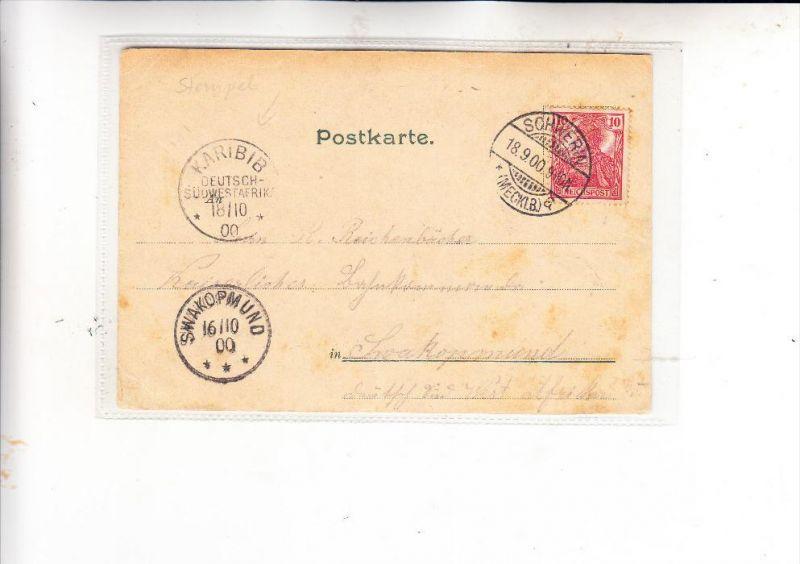DEUTSCHE KOLONIEN - DSW Deutsch Südwest Afrika / Namibia, AK von Schwerin über Swakopmund nach KARIBIB, 1900