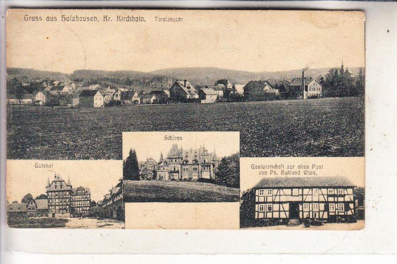 3563 DAUTPHETAL - HOLZHAUSEN, Gastwirtschaft zur alten Post, Gutshof, Schloß, Panorama, 1915