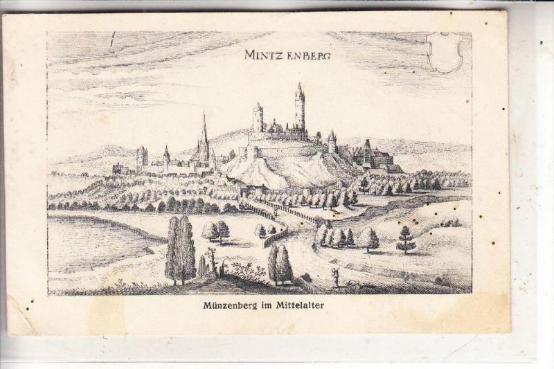 6309 MÜNZENBERG, Historische Ansicht, 1910, min. fleckig