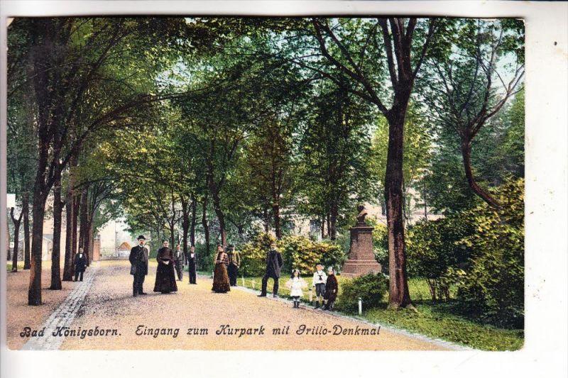 4750 UNNA - KÖNIGSBORN, Eingang zum Kurpark und Grillo-Denkmal, 1906