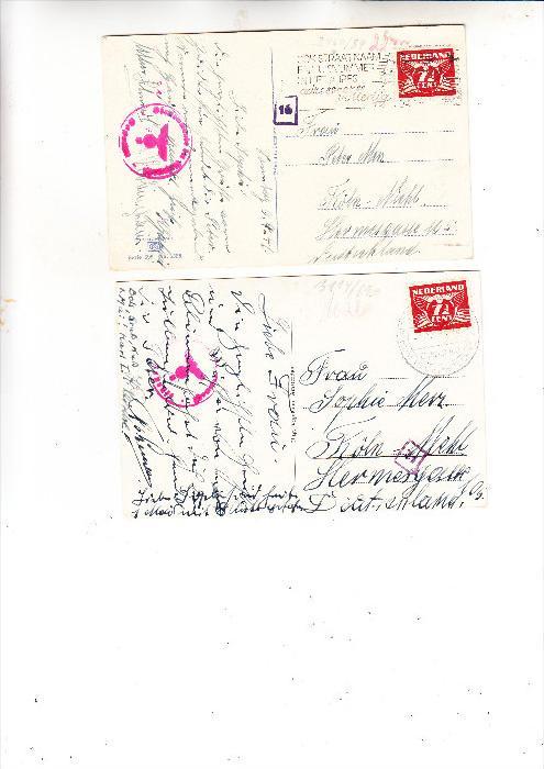 NIEDERLANDE - 1941, Deutsche Besetzung, 2 Zensur-AK