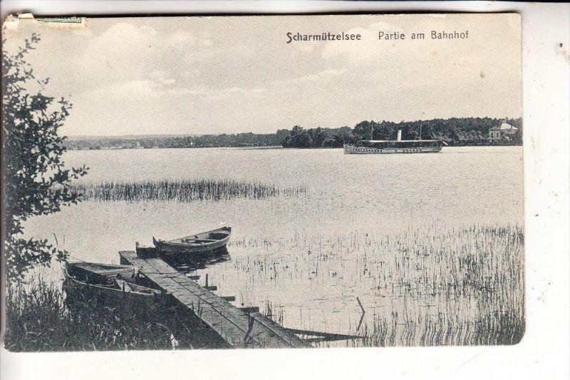 0-1240 FÜRSTENWALDE, Scharmützelsee, Partie am Bahnhof, Dampfer, 1910