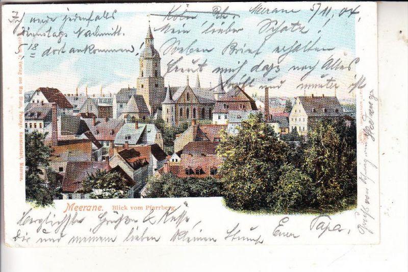 0-9612 MEERANE, Blick v. Pfarrberg, 1904, rücks. Papiermangel