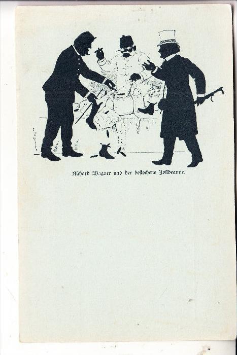 MUSIK / MUSIC - OPER, RICHARD WAGNER und der bestochene Zollbeamte, Schattenbild v. Ludwig Bechstein